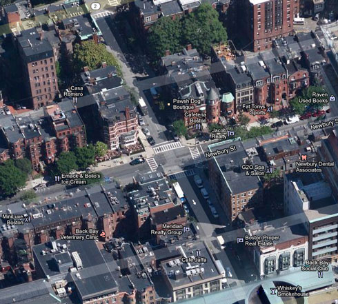 Retail space for lease on the corner of newbury street and glouchester street in boston