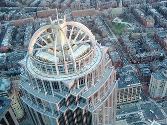 Helicopter view of commercial properties in Boston's Back Bay.