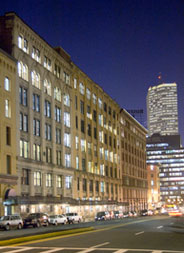 Office building in Boston Seaport district at night