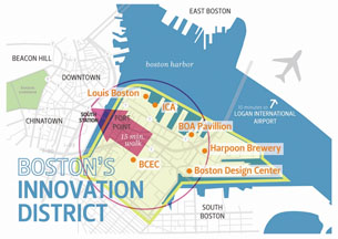 Map of the Innovation District in Boston