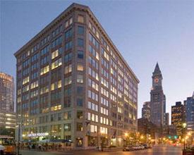 Boston office skyline near sunset