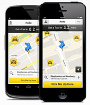 Screenshot of a taxi dispatch app that operates in Boston, along with other cities across the US