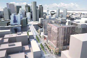 Rendering of the building footprint for Boston seaport towers