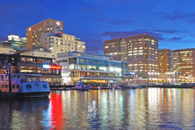 Boston waterfront in the Innovation district at night