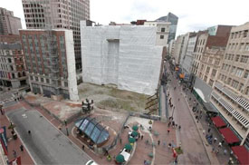 Demoliton on old Filenes building in downtown crossing