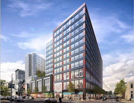 Rendering of proposed mixed-use development in Fenway on Boylston Street