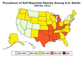 Obesity map by US state