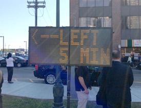 Traffic sign in Boston Seaport