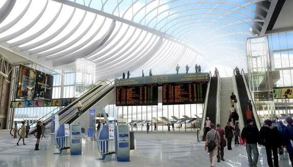 rendering of a proposed south station redesign
