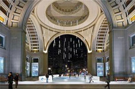 Rendering of an ice skating rink at rowes wharf