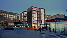 rendering of an office building at 22-26 West Broadway St. in Cambridge, MA