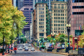 Downtown Boston in color