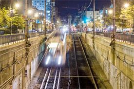 MBTA T train in Boston