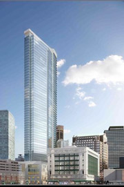 rendering of Millennium Tower in Boston Seaport neighborhood