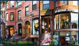 Newbury Collection of retail stores on Newbury Street in Boston