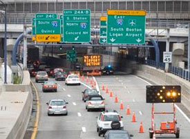 commuter traffic in Boston