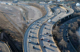 Birds-eye view of the Mass Pike curves near Allston and Brighton