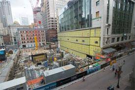 construction in Boston's downtown crossing