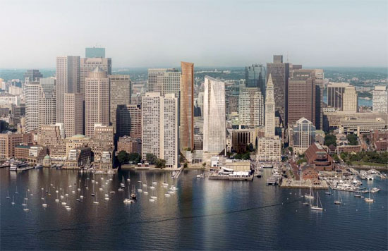 rendering of Boston harbor towers