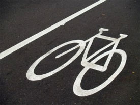 bike markers stenciled on street