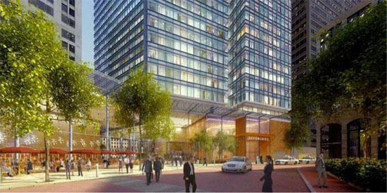 rendering of new proposed office tower in boston financial district