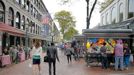 Faneuil hall and quicy market in downtown boston