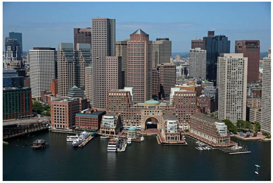 Overhead view of Boston seaport