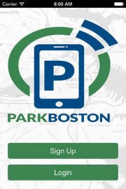 screenshot of Boston's parking app