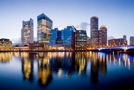 view of Boston's office buildings over the water
