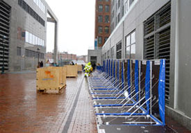 flood protection around Atlantic Wharf building in Boston financial district