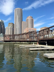 northern avg bridge leads to seaport office buildings in Boston
