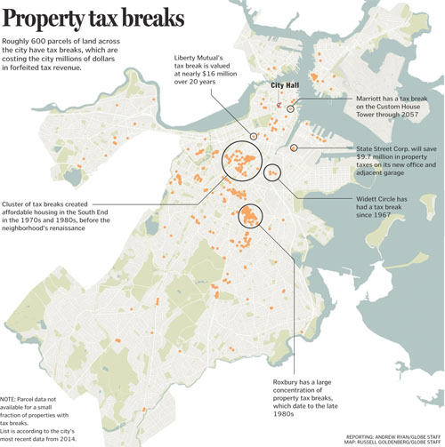 Boston development property tax breaks in a map