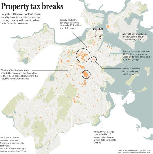Boston development property tax breaks in a map