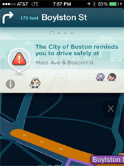 Waze app showing Traffic in Boston