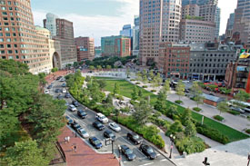 Aerial view of the greenway in downtown Boston