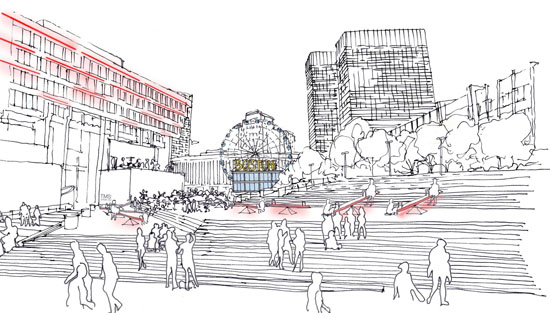 rendering of Boston city hall plaze redevelopment