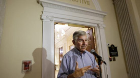 Former Gov. Dukakis speaking in Boston