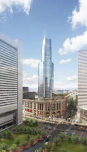 Rendering of office tower over South Station in Boston