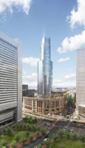Rendering of a proposed office tower over South Station