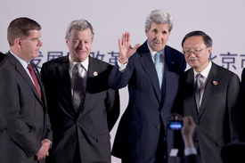Boston Mayor Martin J. Walsh and Secretary of State John F. Kerry meet with Chinese representatives