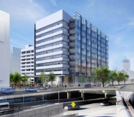 rendering of office tower at South End garage site