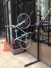Bike rack attacked to a Boston office building