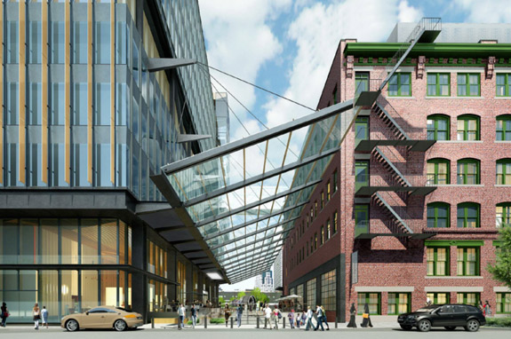Rendering of new office building in Boston Fort Point