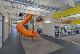 cool office space with slide