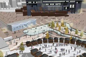Sketch of City Hall skating rink Boston