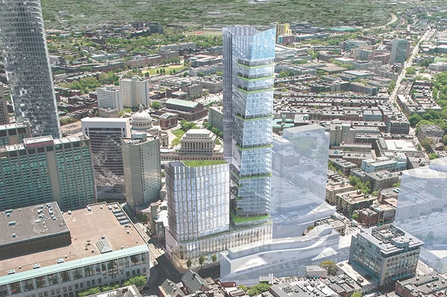 rendering of office towers at 1000 Boylston