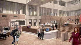 Boston City Hall with new coffee shop