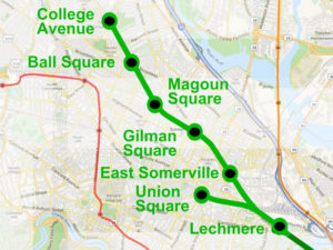 Map of the MBTA Green line extension