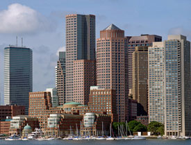 Boston's financial district office buildings fill the skyline