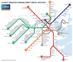 MBTA map and corresponding office rent in Boston